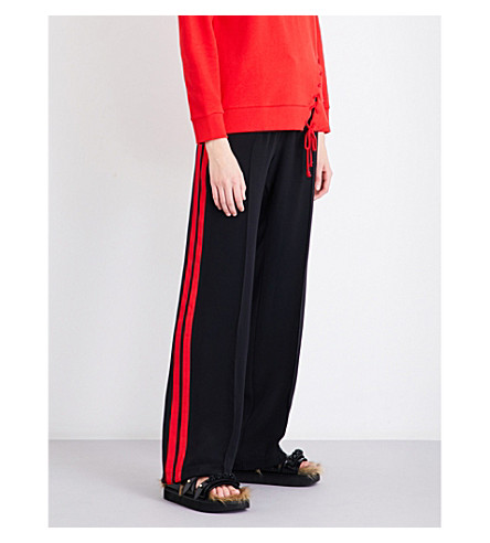 SERENA BUTE LONDON Classic side-stripe silk-crepe jogging bottoms (Black