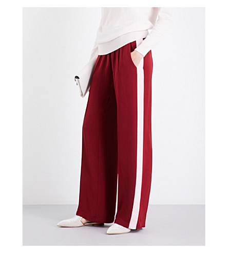 SERENA BUTE LONDON Wide-leg silk-crepe jogging bottoms (Berry+79