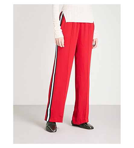 SERENA BUTE LONDON Wide-leg silk-crepe jogging bottoms (Poppy+with+black+and+sky