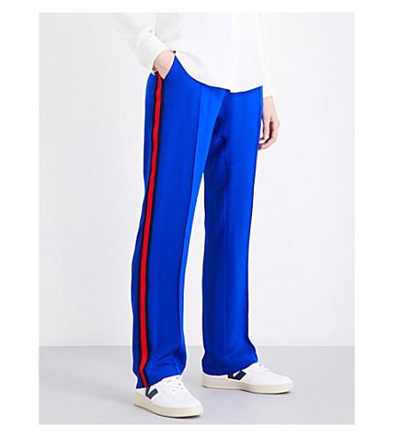 SERENA BUTE LONDON Skinny silk-crepe jogging bottoms (Sapphire