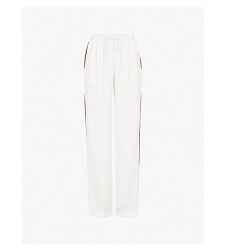 SERENA BUTE LONDON Classic side-stripe silk jogging bottoms (White+w+pink+yellow+grn