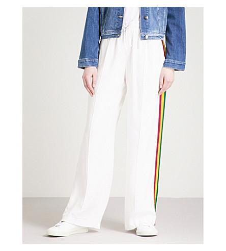 LONDON 经典的侧条纹真丝慢跑裤 (白色 + w + 粉红色 + 黄色 + grn