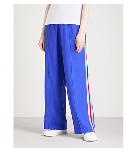SERENA BUTE LONDON Classic side-stripe silk-crepe jogging bottoms (Sapphire+w+sky+and+pink