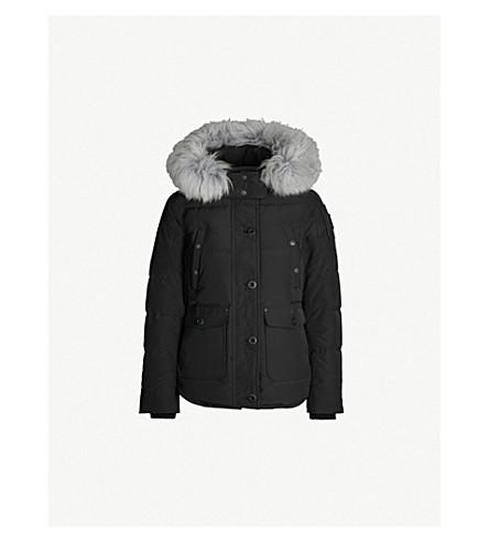 MOOSE KNUCKLES Debaies shearling trimmed padded shell hooded jacket (Black silver shearling