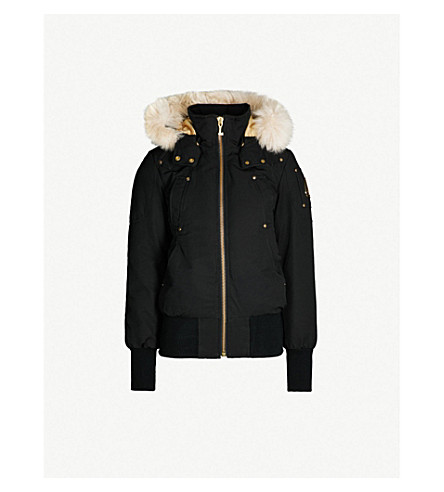MOOSE KNUCKLES Goldboro down-blend hooded bomber jacket (Black sly shearling