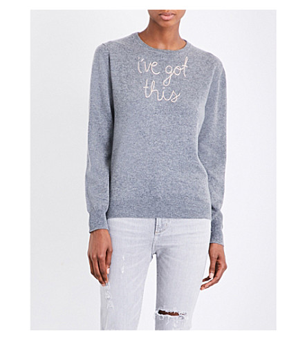 LINGUA FRANCA I've Got This cashmere jumper (Grey+and+lght+pink+950