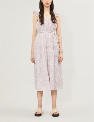 Silves floral-embroidered cotton-blend dress