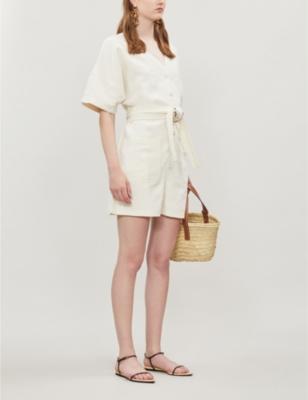 Nasirria waist-tie cotton-linen playsuit