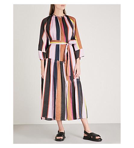 APIECE APART Stella linen and silk-blend midi dress (Big+bright