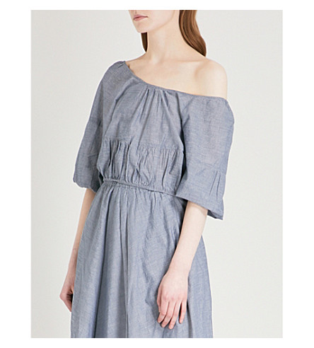 APIECE APART Amber off-the-shoulder cotton top (Chambray
