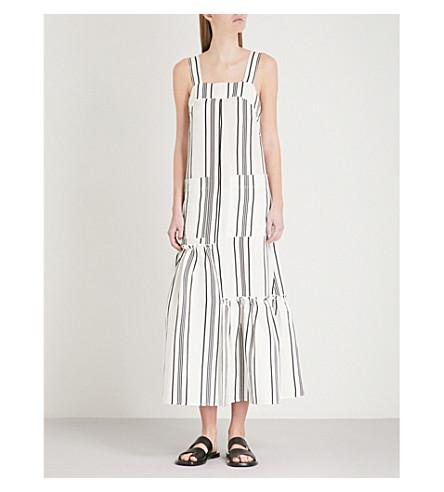 APIECE APART Senecio striped linen and silk-blend dress (Sandalwood+stripe