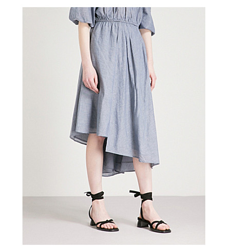 APIECE APART Turkanna asymmetric cotton midi skirt (Chambray