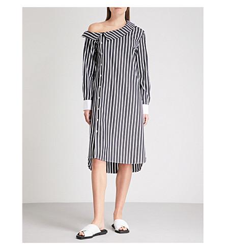 MONOGRAPHIE Striped off-the-shoulder cotton dress (Black+stripes