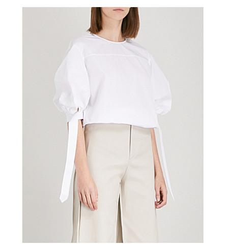 MONOGRAPHIE Tied-sleeve cotton-poplin blouse (White