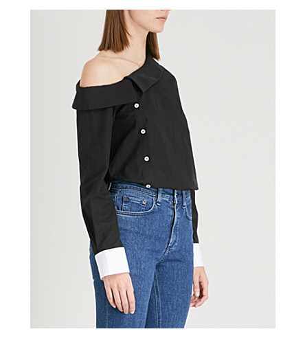 MONOGRAPHIE Asymmetric cotton-poplin shirt (Black