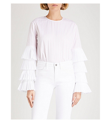MONOGRAPHIE Pleated-sleeve cotton shirt (Pink+stripe