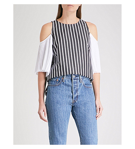 MONOGRAPHIE Cold-shoulder striped cotton-poplin top (Black+stripes