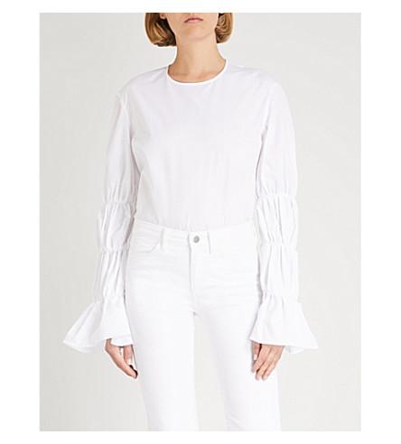 MONOGRAPHIE Puff-sleeve cotton shirt (White
