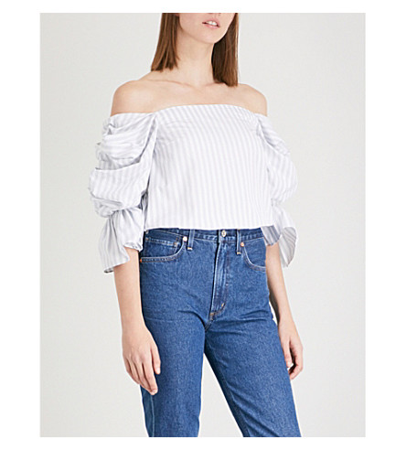 MONOGRAPHIE Ruffled off-the-shoulder cotton-poplin blouse (Silver