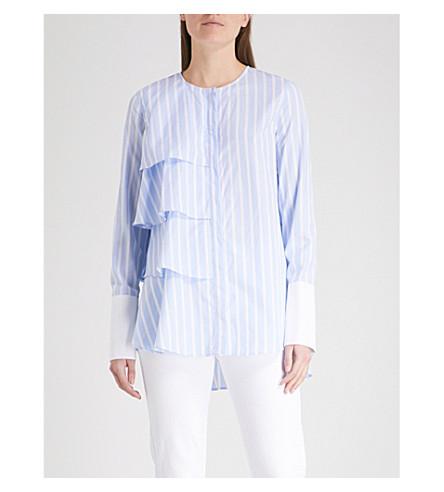 MONOGRAPHIE Ruffled striped cotton-poplin shirt (Baby+blue+stripes