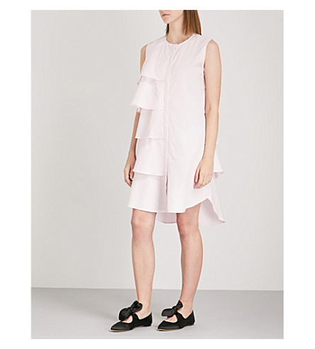 MONOGRAPHIE Asymmetric ruffled cotton shirt dress (Pink