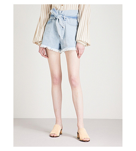 NANUSHKA Apache high-rise denim shorts (Light+blue