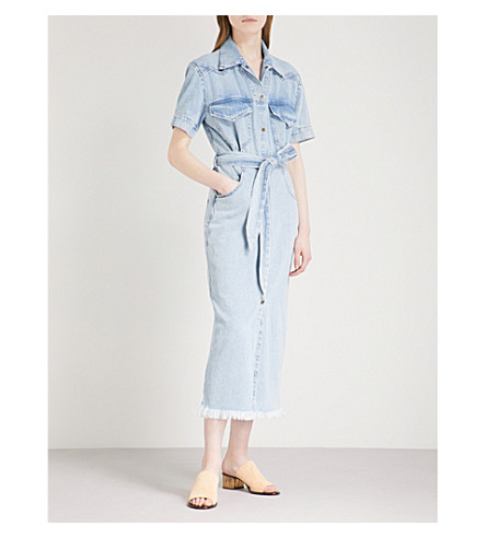 NANUSHKA Goji belted denim midi dress (Light+blue