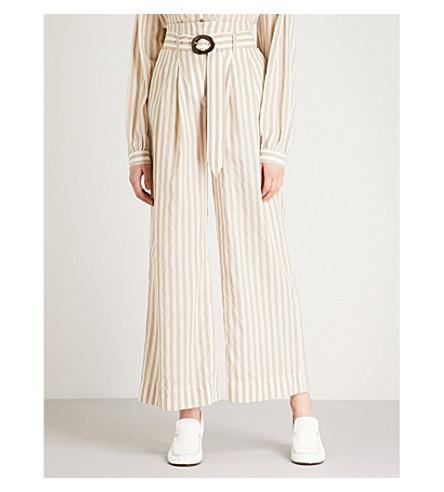 NANUSHKA Nevada striped high-rise cotton-blend trousers (Beige+cream