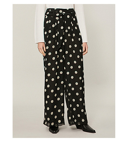 NANUSHKA Nevada striped high-rise cotton-blend trousers (Polka+dot
