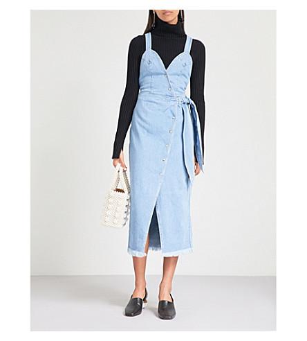 NANUSHKA桑塔尔人牛仔连衣裙 (水洗 + 蓝色