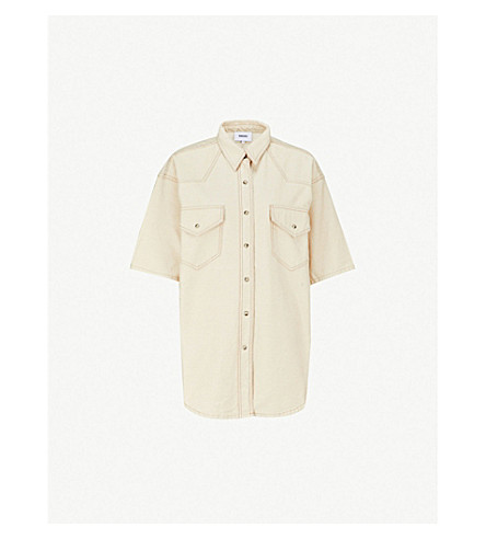 NANUSHKA Seymour oversized denim shirt (Creme
