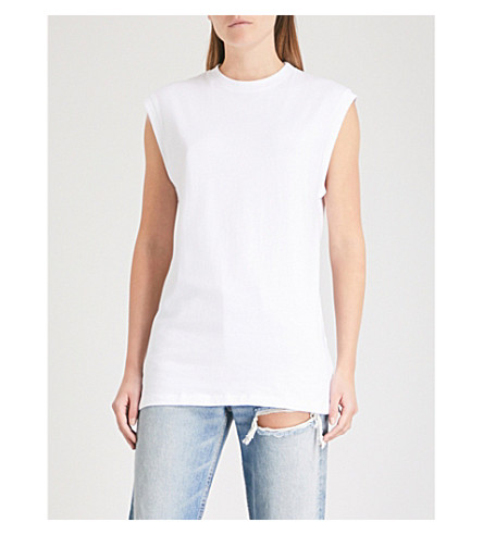 HANES X KARLA The Sleeveless cotton T-shirt (White