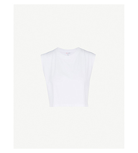 HANES X KARLA The Sleeveless Crop cotton T-shirt (White
