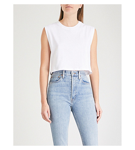 HANES X KARLA The Sleeveless Crop cotton T-shirt (White