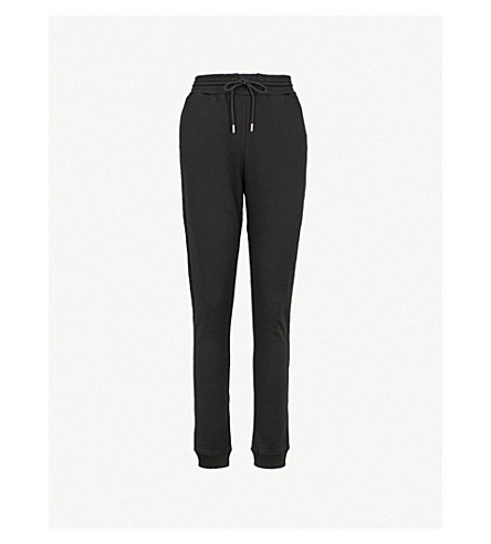 NINETY PERCENT Slim-leg cotton-jersey jogging bottoms (Black