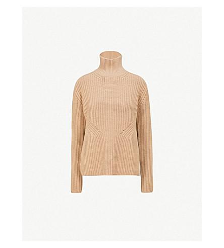 NINETY PERCENT Turtleneck wool and cashmere-blend knit jumper (Camel