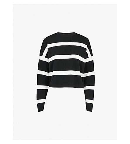NINETY PERCENT Striped cropped wool and cashmere-blend jumper (Black+off+white