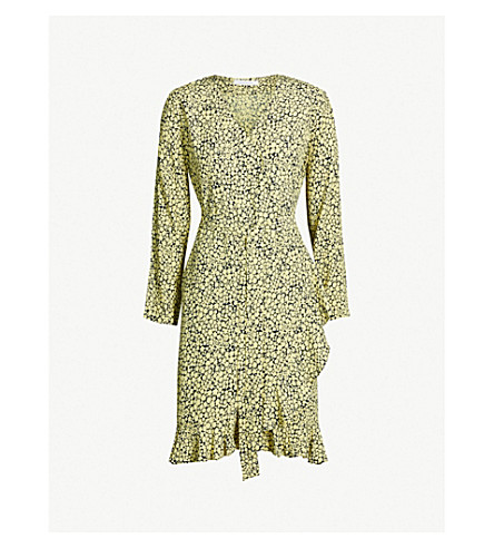 SAMSOE & SAMSOE Limon frill-trimmed wrap-over woven dress (Yellow buttercup