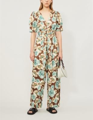 Felicity floral-print puff-sleeve crepe jumpsuit