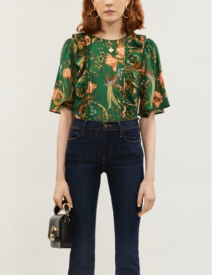 Frill floral and bird-print recycled polyester top