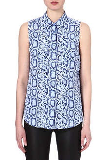 EQUIPMENT Signature sleeveless snake-print silk shirt