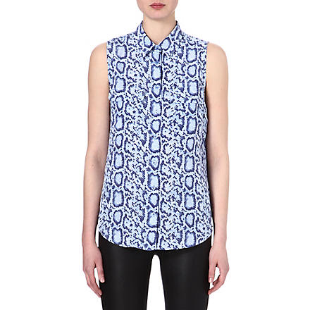 EQUIPMENT Signature sleeveless snake-print silk shirt (Hydrangea