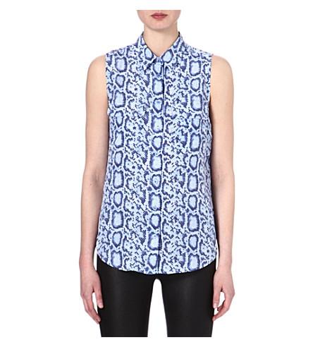 EQUIPMENT Signature sleeveless snake-print silk shirt (Hydrangea