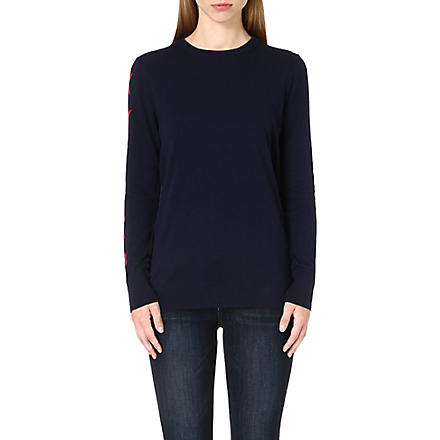 EQUIPMENT Crew-neck knitted jumper (Peacoat/strawberry red