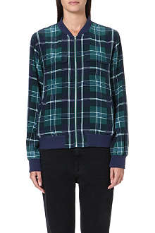 EQUIPMENT Plaid silk bomber jacket
