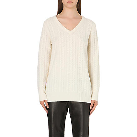 EQUIPMENT Whitney cable knit jumper (Ivory