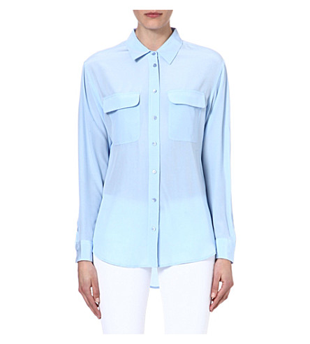 EQUIPMENT Slim Signature washed-silk shirt (Periwinkle