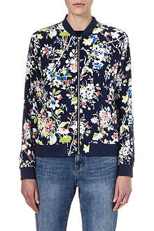 EQUIPMENT Floral silk bomber jacket