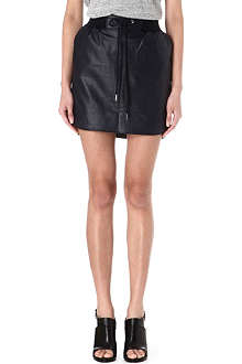 EMMA COOK Drawstring-waist faux-leather skirt