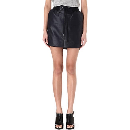 EMMA COOK Drawstring-waist faux-leather skirt (Navy